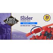 First Street Storage Bags, Slider, Quart Size