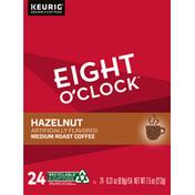 Eight O'Clock Coffee Coffee, Medium Roast, Hazelnut, K-Cup Pods, 24 Pack