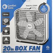 Comfort Zone Box Fan, White, 20 Inch