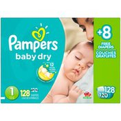 Pampers Baby Dry Pampers Baby Dry Newborn Diapers Size 1 Bonus Pack 128 Count  Diapers