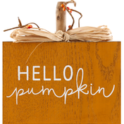 Gerson Harvest Pumpkin Sign, with Raffia Bow, Wood and Metal, 8.75 Inch