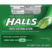 Halls Cough Suppressant/Oral Anesthetic, Menthol, Spearmint Flavor