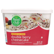 Food Club Double Berry Cheesecake Flavored Premium Ice Cream With Graham Pieces, Boysenberry & Strawberry Swirls