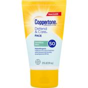 Coppertone Hypoallergenic Defend & Care Sunscreen Lotion  Sensitive Skin SPF 50