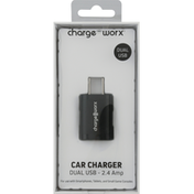 Chargeworx Car Charger, Dual USB, 2.4 Amp