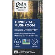 Gaia Herbs Turkey Tail Mushroom, 6X Strength, 400 mg, Capsules