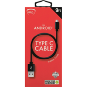 iHip Cable, Type C, Rubber Finish, 9 Feet