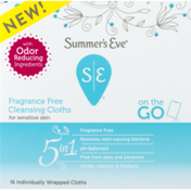 Summer's Eve Cloths, Cleansing, Fragrance Free
