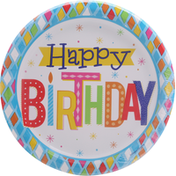 Party Creations Plates, Bright Birthday, Sturdy Style, 8.75 Inch