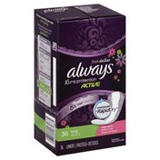 Always Liners, Xtra Protection Active, Long, Clean Scent, Box
