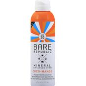 Bare Republic Sunscreen Spray, Mineral, Coco-Mango, Broad Spectrum SPF 30