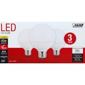 Feit Electric Light Bulbs, LED, Warm White, 6 Watts, 3 Pack