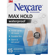 Nexcare Bandages, Max Hold, Waterproof, Assorted