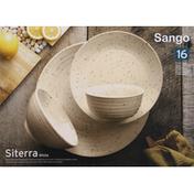 Sango Dinnerware Set, 16 Piece, Siterra White