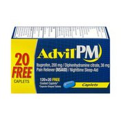 Advil PM Pain Reliever Nighttime Sleep-Aid Caplets - 140 CT