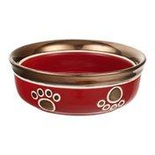"Ritz 5"" Copper Rim Cat Bowl Red"