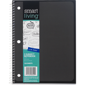 Smart Living Notebook, 3 Subject, Blue, Wide Ruled, 120 Sheets