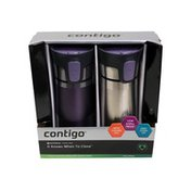 Contigo Autoseal Stainless Steel & Radiant Orchid Pinnacle Travel Mugs