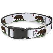 Buckle-Down Medium White Cali Bear Plastic Clip Dog Collar