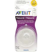 Avent Nipples, Natural, Newborn Flow, 0 M+