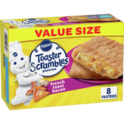 Pillsbury Toaster Scrambles, French Toast Bacon, Frozen Pastries, 8 Count