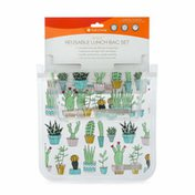 Full Circle Ziptuck Lunch Bag Set, Reusable Lunch Bags, Cactus Party
