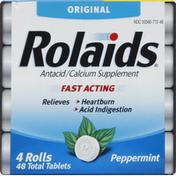 Rolaids Antacid/Calcium Supplement, Original, Peppermint, Tablets