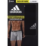 adidas Men's Performance Boxer Briefs – 3 Pack - L - Black/Light Onix Grey