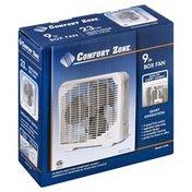 Comfort Zone Box Fan, 9 Inch