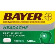 Bayer Aspirin, Headache, 500 mg, Coated Caplets