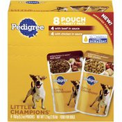 Pedigree Little Champions with Beef & with Chicken In Sauce 5.3 Oz Pouches Wet Dog Food