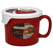 Corningware Mug, with Vented Plastic Cover, 20 oz, Tomato