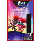 Trolls Valentines, With Pencils