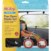 Nuby Pop Open Shade Set, On The Go, 3 Pack