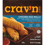 Crav'n Flavor Chicken Egg Rolls Savory Chicken, Cabbage, Carrots And Onion In A Crispy, Golden Brown Fried Wheat Wrap With Sweet And Sour Sauce