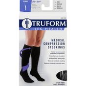Truform Below Knee Stockings, Medical Compression, Firm, Black, Medium