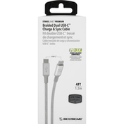 Scosche Charge & Sync Cable, Dual USB-C, Braided, 4 Feet
