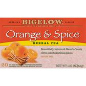 Bigelow Herbal Tea, Orange & Spice, Caffeine Free, Tea Bags