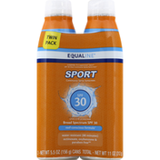 Equaline Sunscreen, Continuous Spray, Broad Spectrum SPF 30, Twin Pack
