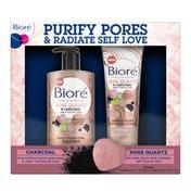 Bioré Rose Quartz & Charcoal Face Wash + Pore Refining Scrub, Face Cleanser & Exfoliator, Oil Free