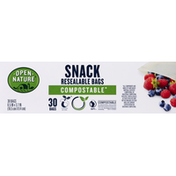 Open Nature Snack Bags, Resealable, Compostable