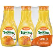 Tropicana 100% Juice, Orange, No Pulp, 3 Pack