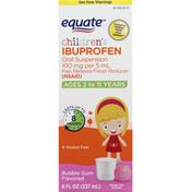 Equate Ibuprofen, 100 mg, Childrens, Bubble Gum Flavored