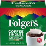 Folgers Coffee Singles, Classic Decaf Coffee Bags, Medium Roast