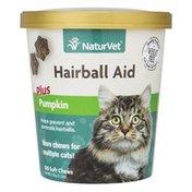 NaturVet Hairball Aid Supplement Plus Pumpkin Chews for Cats
