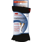 Md Socks, Compression, Over the Calf, Microfiber, Large, Black