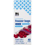 Food Lion Freezer Bags, Reclosable, Double Zipper, Quart Size