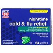Rite Aid Pharmacy Cold & Flu Relief, Nighttime, Softgels, 24 softgels
