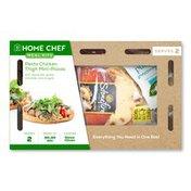 Home Chef Meal Kit Pesto Chicken Thigh Mini-Pizzas With Mozzarella, Grape Tomatoes, And Arugula