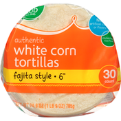 Food Club White Corn Tortillas, Authentic, Fajita Style, 6 Inch